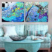 Картины и панно handmade. Livemaster - original item Modular abstract pattern in mint, blue tones of the Underwater world. Handmade.