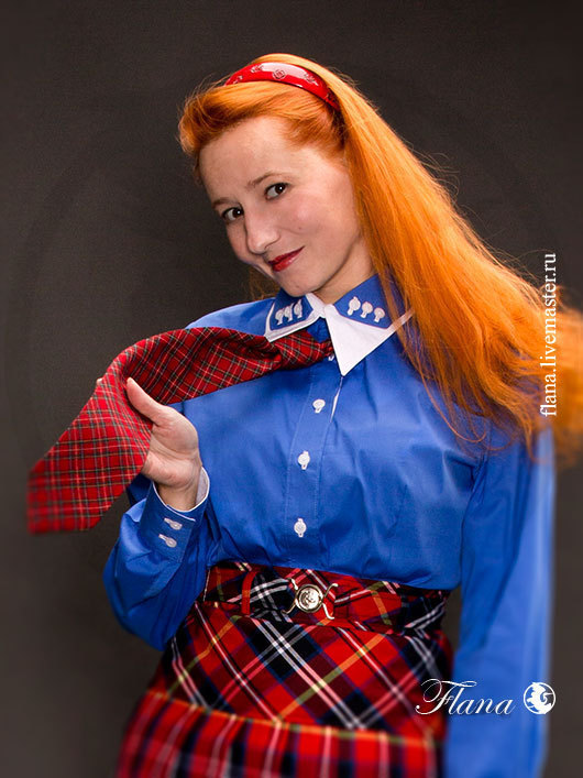 Блузка синяя, с двойным воротником. Индивидуальный пошив, Флана