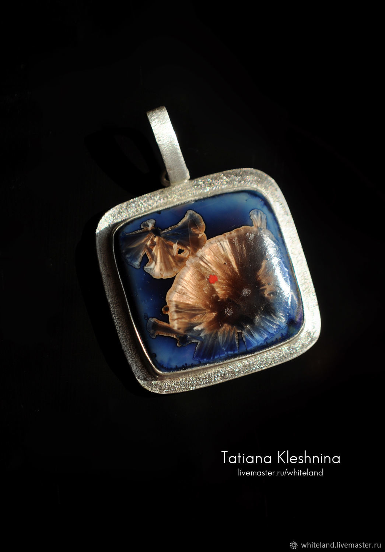 Square porcelain pendant with crystal glaze, Pendants, Nizhneangarsk,  Фото №1