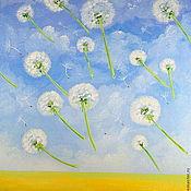 Картины и панно handmade. Livemaster - original item Oil painting on canvas. Dandelions in the sky!. Handmade.