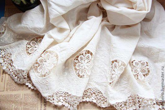 Шитье ручной работы. Ярмарка Мастеров - ручная работа. Купить Ткань кружево вышивка 100% хлопок. Handmade. Ткань