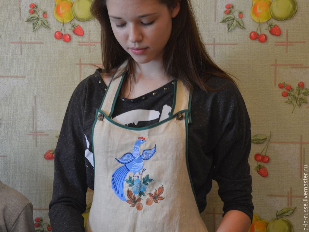 Apron for the kitchen 'Darling' embroidery patterns Gorodets painting, Aprons, Permian,  Фото №1