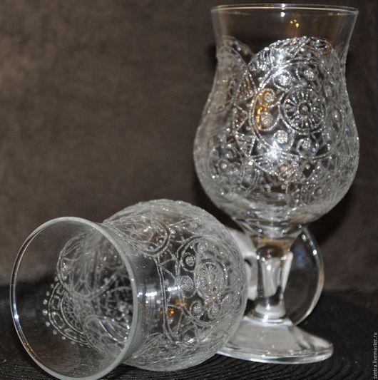 Бокалы, стаканы ручной работы. Ярмарка Мастеров - ручная работа. Купить Бокал с росписью Морозная свежесть. Handmade. Морозный
