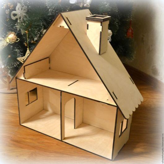 Кукольный дом ручной работы. Ярмарка Мастеров - ручная работа. Купить Кукольный домик. 3-комн. с трубой. Handmade. Домик
