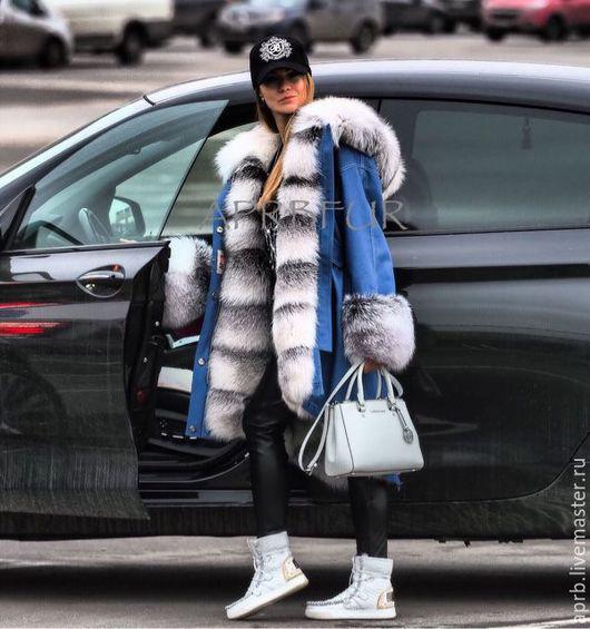 Верхняя одежда ручной работы. Ярмарка Мастеров - ручная работа. Купить Парка из светлой джинсы с мехом шикарной полярной лисы. Handmade.