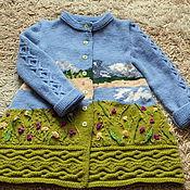 Работы для детей, handmade. Livemaster - original item coat Mountain meadow knit copyright. Handmade.