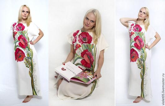 Платья ручной работы. Ярмарка Мастеров - ручная работа. Купить Мак ослепительный - шелковое платье батик. Handmade. Батик