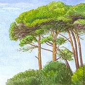 Картины и панно ручной работы. Ярмарка Мастеров - ручная работа Картина акварелью Средиземноморские Сосны, пейзаж зеленый акварель лес. Handmade.