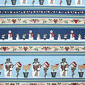 Материалы для творчества ручной работы. Ярмарка Мастеров - ручная работа Новогодняя ткань бордюрная снеговики-сердечки. Handmade.