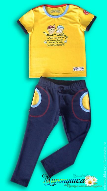 """Одежда для мальчиков, ручной работы. Ярмарка Мастеров - ручная работа. Купить Комплект """"Моряк"""". Handmade. Желтый, штаны спортивные"""