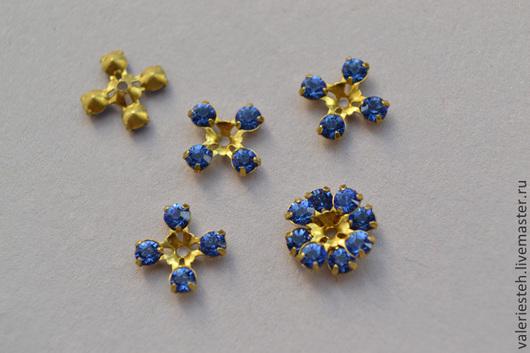 Для украшений ручной работы. Ярмарка Мастеров - ручная работа. Купить Винтажный элемент с кристаллами Swarovski 8,7 мм. цвет  Sapphire. Handmade.