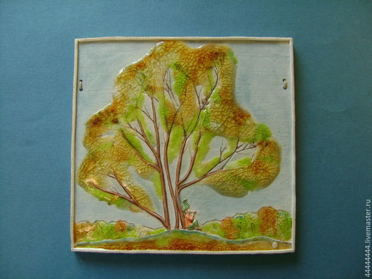 Пейзаж ручной работы. Ярмарка Мастеров - ручная работа. Купить панно Золото эльфов керамика. Handmade. Осень, оранжевый, подарок