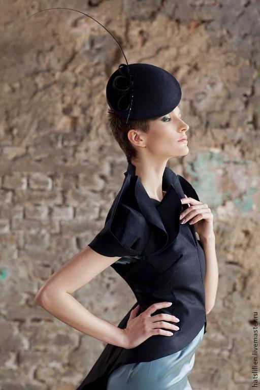 Шляпы ручной работы. Ярмарка Мастеров - ручная работа. Купить Шляпка черная на ободке из коллекции Штрихи к портрету. Handmade. Черный