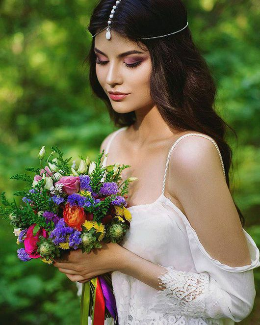 Свадебные украшения ручной работы. Ярмарка Мастеров - ручная работа. Купить Тика белый агат, тикка для невесты. Handmade. Тикка