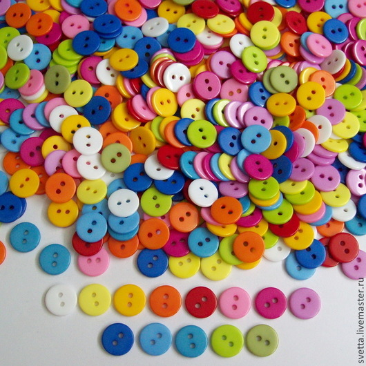 Шитье ручной работы. Ярмарка Мастеров - ручная работа. Купить Разноцветные пуговицы. Диаметр 11 мм.. Handmade. Пуговицы, Пуговки