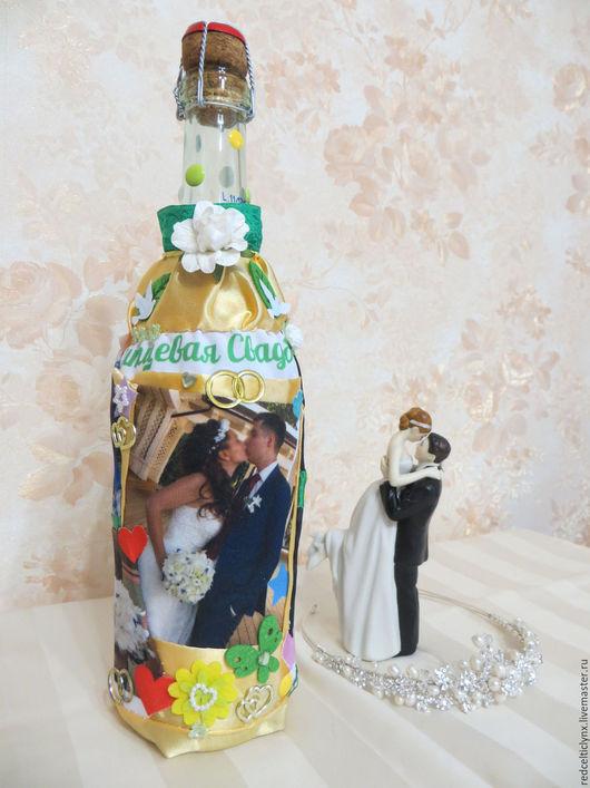 Подарки на свадьбу ручной работы. Ярмарка Мастеров - ручная работа. Купить Шампанское на ситцевую свадьбу. Handmade. Шампанское на свадьбу