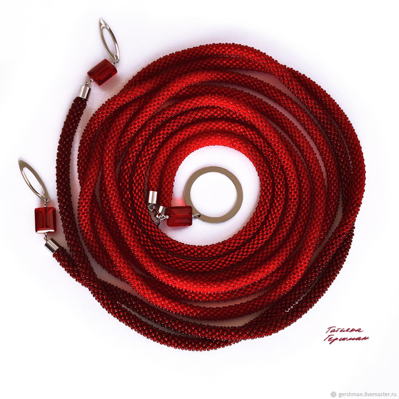 Thin beaded rope belt with Czech glass dark red, Belt, Tomsk,  Фото №1