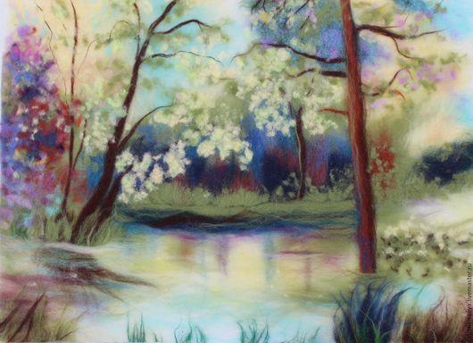 Картина из шерсти `Весна`