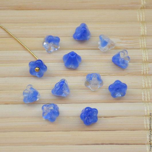Для украшений ручной работы. Ярмарка Мастеров - ручная работа. Купить Чешские цветочки колокольчики 6 х 4 мм Синие. Handmade.