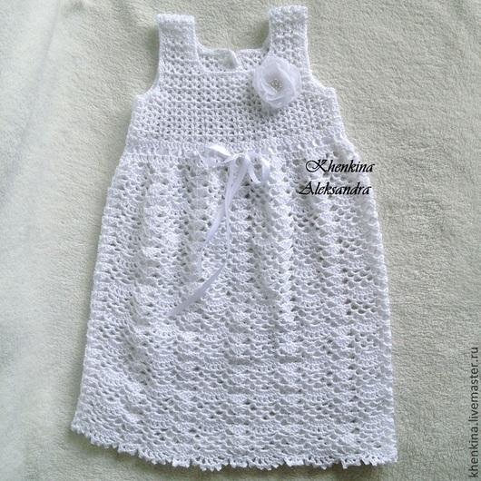 Крестильные принадлежности ручной работы. Ярмарка Мастеров - ручная работа. Купить Вязаное платье для крещения или первой фотосессии. Handmade.