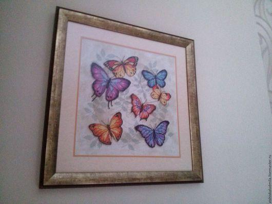 """Натюрморт ручной работы. Ярмарка Мастеров - ручная работа. Купить Вышитая картина """"Множество бабочек"""". Handmade. Вышивка крестом, вышивка"""