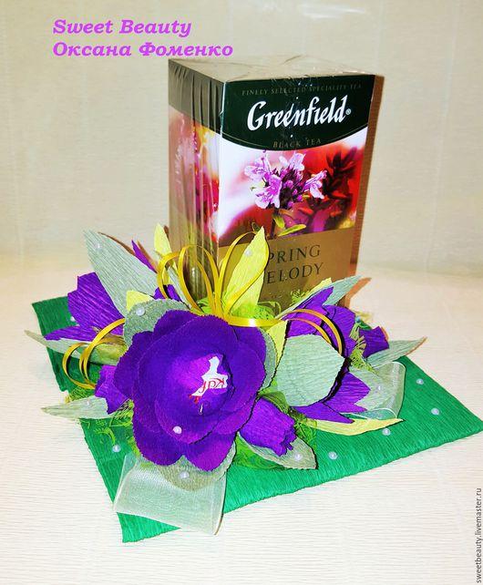 """Букеты ручной работы. Ярмарка Мастеров - ручная работа. Купить Букет из конфет """" Чаепитие"""". Handmade. Зеленый"""