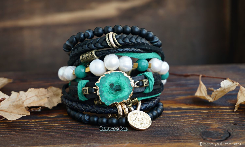Leather bracelet in the Boho-chic style ' Emerald Island', Bead bracelet, Moscow,  Фото №1