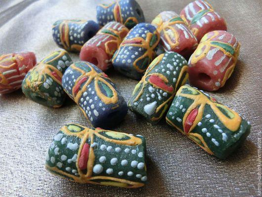 Африканские Крупные Кробо бусины из Ганы с рисунком. Африканские бусины для колье, африканские стеклянные бусины для браслетов, этнические бусины для серег.