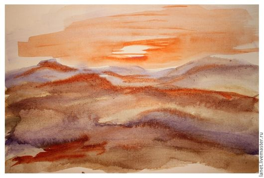"""Репродукции ручной работы. Ярмарка Мастеров - ручная работа. Купить Акварельный рисунок """"Пески. Закат"""". Handmade. Рыжий, закат, Пустыня"""