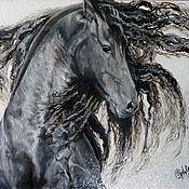 """Картины и панно ручной работы. Ярмарка Мастеров - ручная работа картина маслом лошадь """"Вихрь"""". Handmade."""