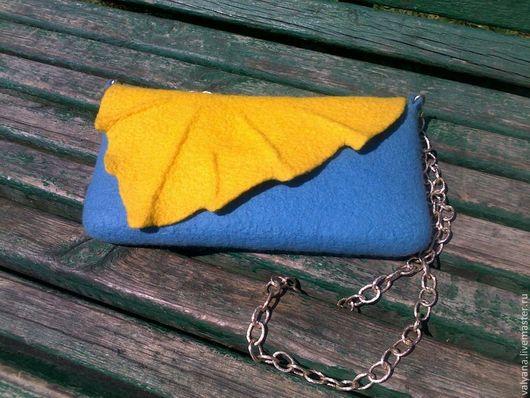 Женские сумки ручной работы. Ярмарка Мастеров - ручная работа. Купить Сонце и небо. Handmade. Сумка валяная, сумка яркая