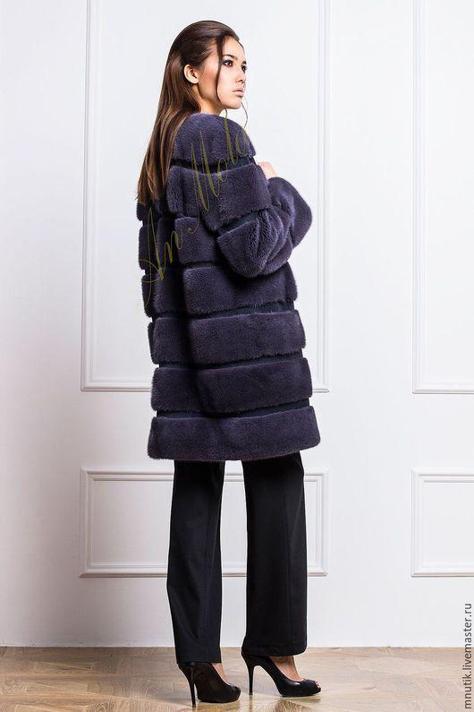 Верхняя одежда ручной работы. Ярмарка Мастеров - ручная работа. Купить Норковое пальто. Handmade. Темно-серый, мех натуральный