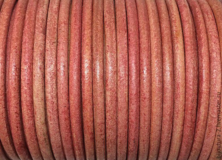 ручной работы. Ярмарка Мастеров - ручная работа. Купить Шнур кожаный (арт.к69) 3 мм, античный/винтажный. Handmade. Коралловый