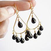 Украшения handmade. Livemaster - original item Earrings with black spinel, black chandeliers, oriental gold plated earrings. Handmade.