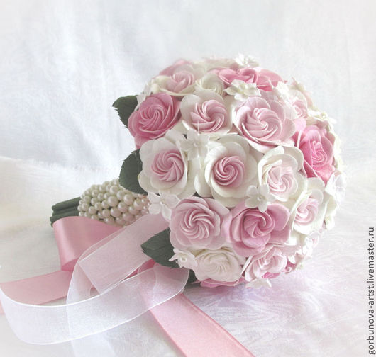 """Свадебные цветы ручной работы. Ярмарка Мастеров - ручная работа. Купить Букет невесты из полимерной глины """"Розовые розы"""". Handmade."""