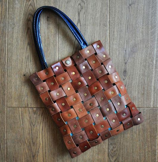 Женские сумки ручной работы. Ярмарка Мастеров - ручная работа. Купить Плетёнка. Handmade. Коричневый, комбинированная кожа, натуральная кожа