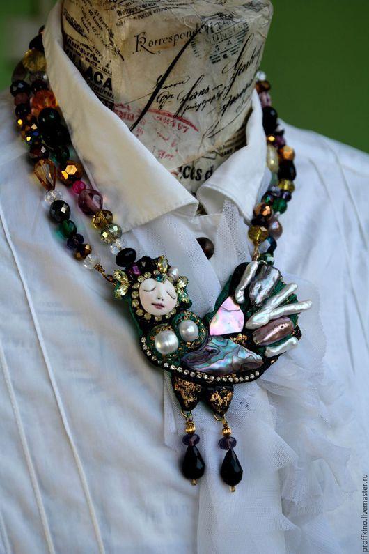 """Кулоны, подвески ручной работы. Ярмарка Мастеров - ручная работа. Купить медальон на бусах """"Феникс Noir"""". Handmade. Черный"""