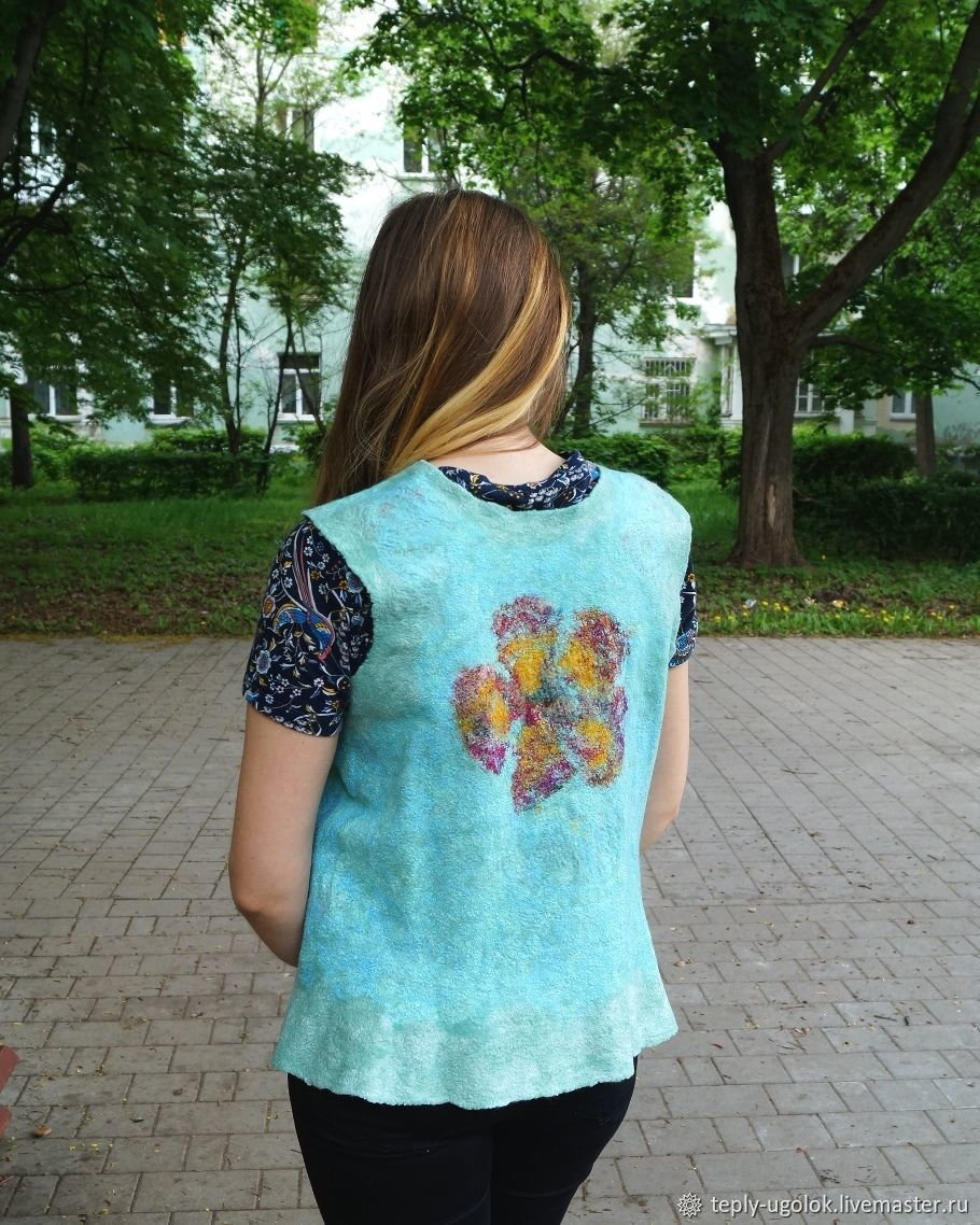 The vest is felted from Merino bilateral Russian style, Vests, Novomoskovsk,  Фото №1
