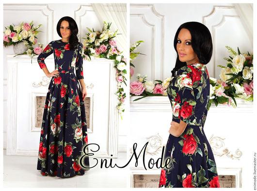 Платья ручной работы. Ярмарка Мастеров - ручная работа. Купить Тёмно-синее платье в пол крупными розами и рукавом 3/4. Handmade.