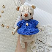 Куклы и игрушки handmade. Livemaster - original item Bear crocheted in a blue blouse. Handmade.