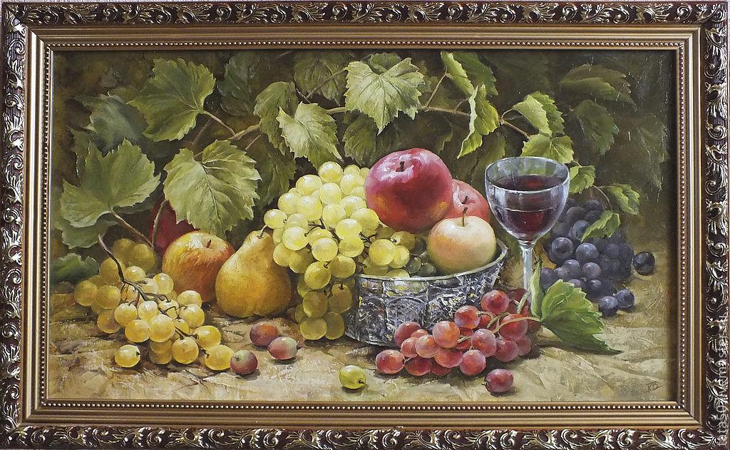 """Натюрморт ручной работы. Ярмарка Мастеров - ручная работа. Купить """" Виноград"""". Handmade. Кухня, картина в подарок, виноградная лоза"""