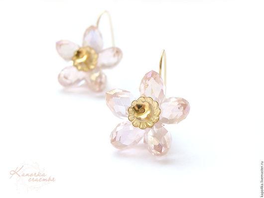 Серьги ручной работы. Ярмарка Мастеров - ручная работа. Купить Серьги позолоченные Розовые цветы серьги цветок цветочки ромашка. Handmade.