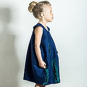 Работы для детей, handmade. Livemaster - original item Baby dress-bottle dark blue. Handmade.