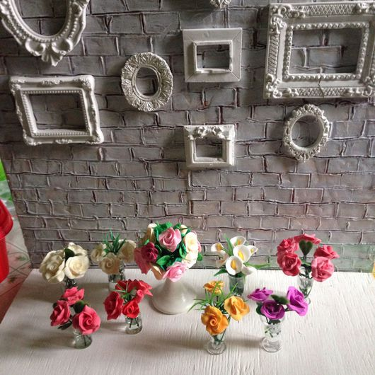 Куклы и игрушки ручной работы. Ярмарка Мастеров - ручная работа. Купить Миниатюра Букет цветов в стеклянной банке 1:12. Handmade.
