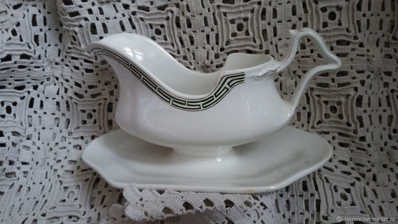 Antique gravy boat. Kuznetsovsky porcelain, Vintage kitchen utensils, St. Petersburg,  Фото №1