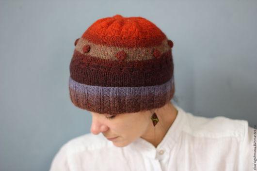 Шапки ручной работы. Ярмарка Мастеров - ручная работа. Купить Валяная шерстяная шапка  Закат в горах. Handmade. Комбинированный