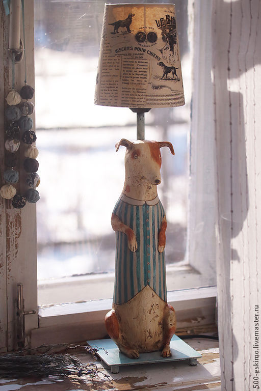 Освещение ручной работы. Ярмарка Мастеров - ручная работа. Купить Лампа Фокстерьер. Handmade. Собака, папье-маше