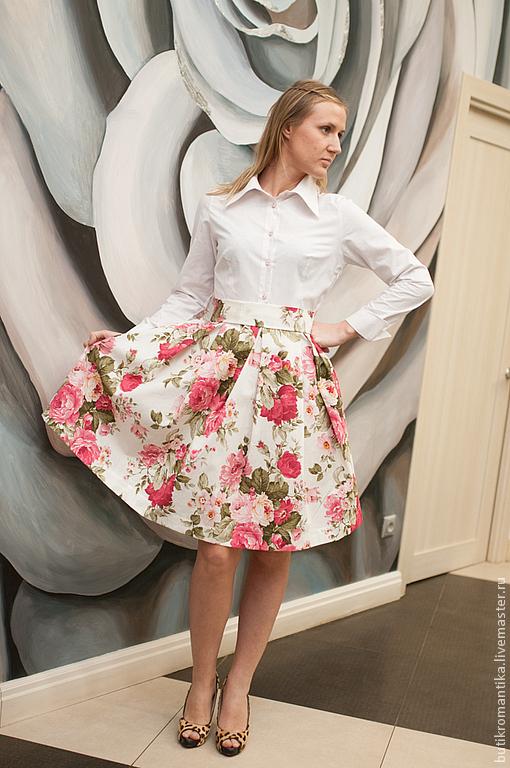 Платья ручной работы. Ярмарка Мастеров - ручная работа. Купить Платье - розы на белом. Handmade. Белый, розовые цветы