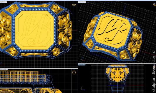 """Кольца ручной работы. Ярмарка Мастеров - ручная работа. Купить 3D модель - кольцо мужское """"Печатка именная"""". Handmade. Кольцо"""