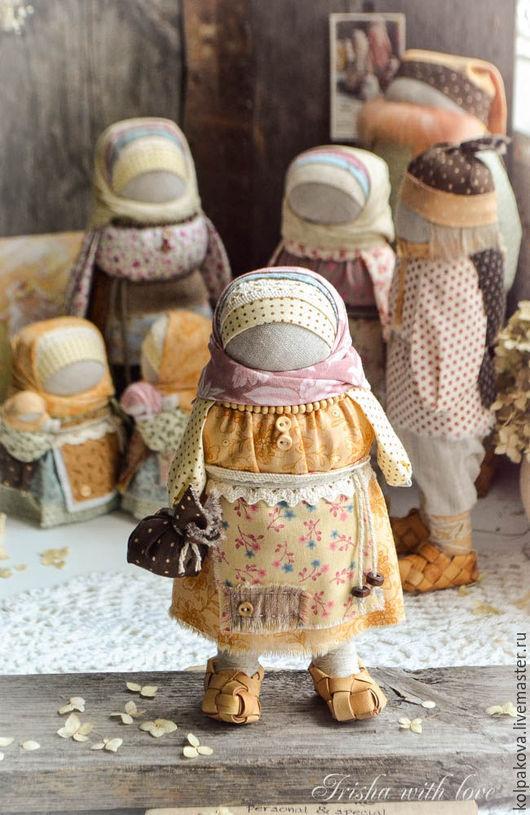 """Народные куклы ручной работы. Ярмарка Мастеров - ручная работа. Купить кукла Семья"""" День рождения"""".. Handmade. Оранжевый, береста"""